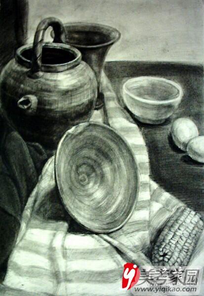 结构素描罐子茶壶 素描罐子结构 静物结构素描罐子图片